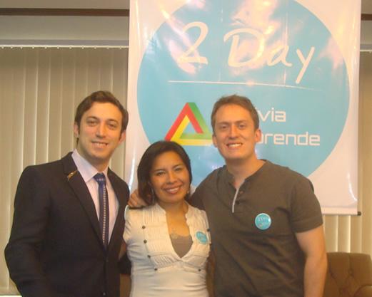 Leonel Fransezze, Allison Silva y Marcelo Pereira en el 2Day Bolivia Emprende